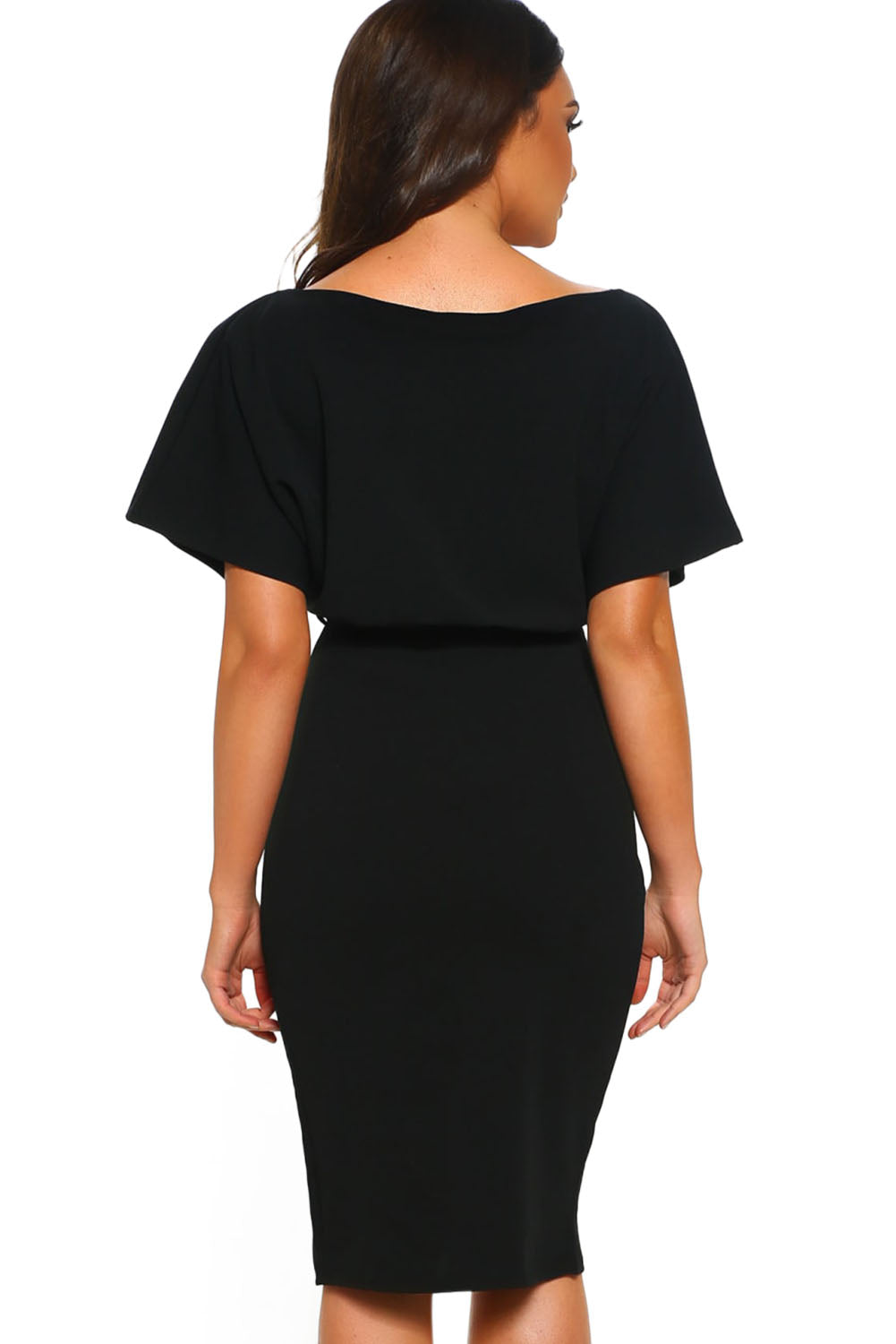 Black Belted Wrap Front Midi Dress LAVELIQ