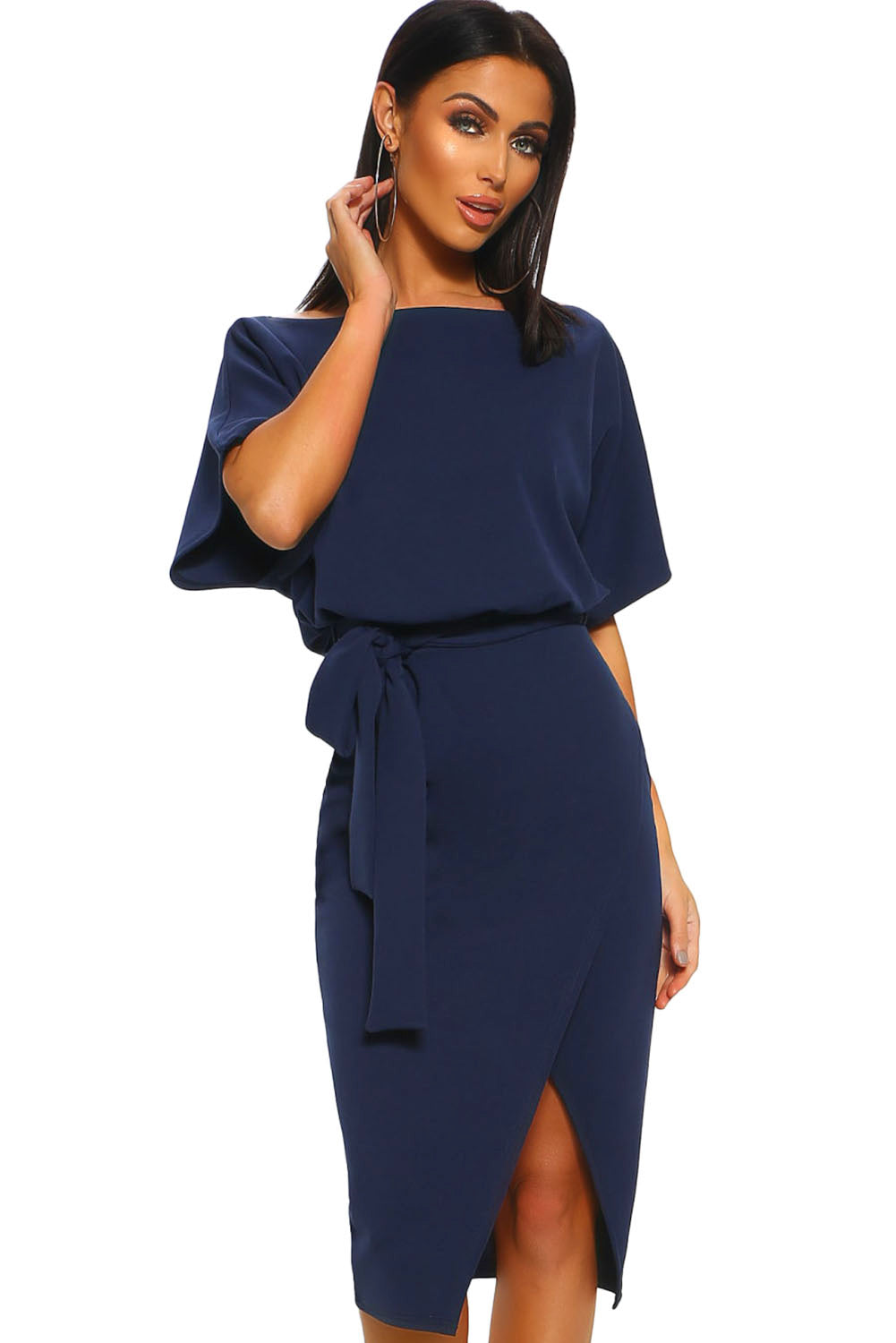 Blue Belted Wrap Front Midi Dress LAVELIQ