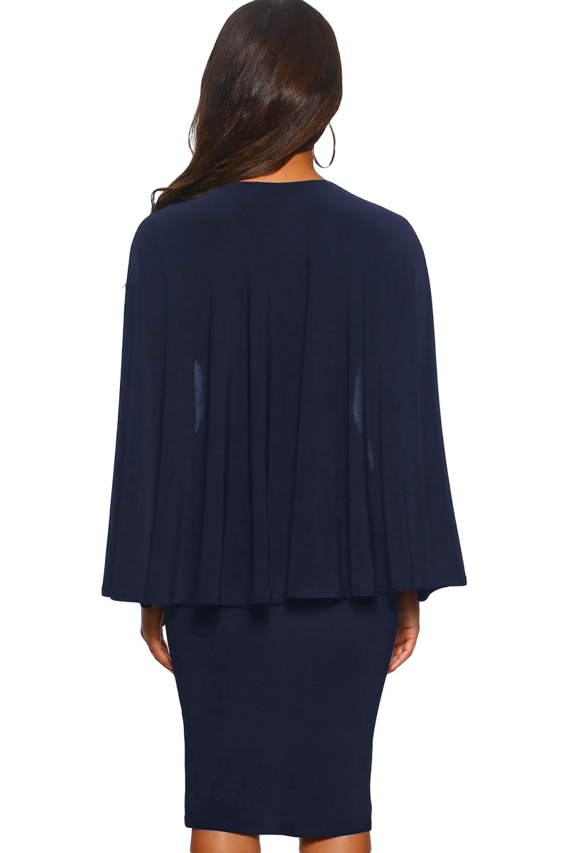 Blue Manhattan Moment Cape Wrap Front Midi Dress LAVELIQ