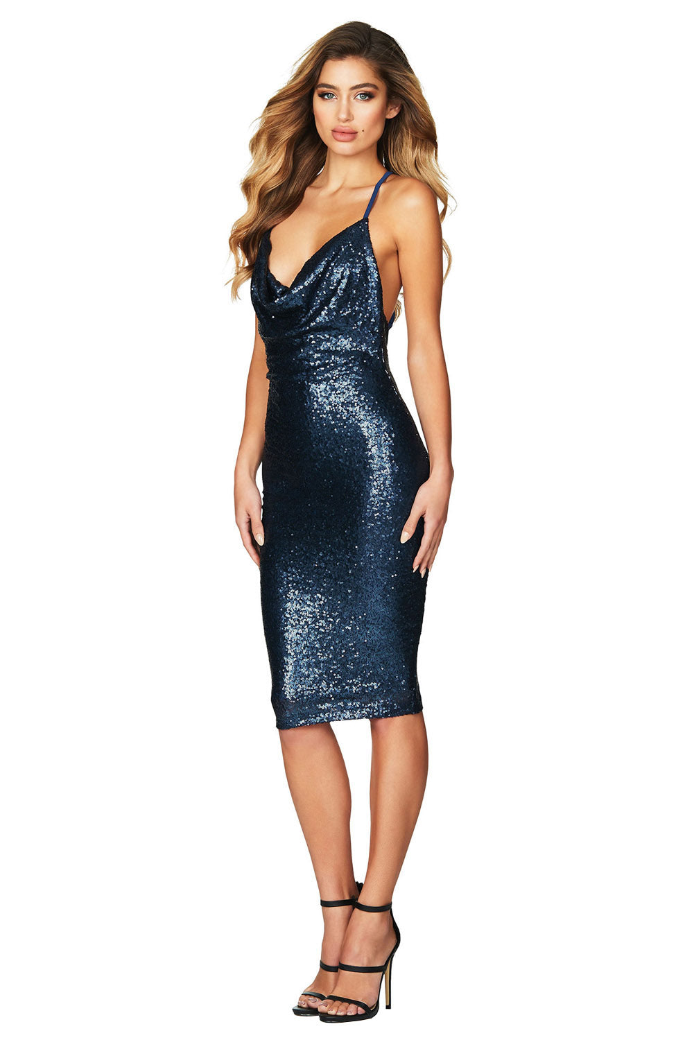 Blue Seductive Sequin Midi Club Dress LAVELIQ