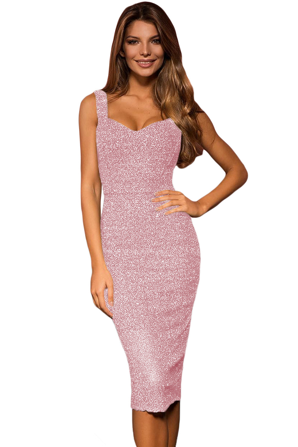 Pink  Sleeveless Glitter Midi Dress LAVELIQ