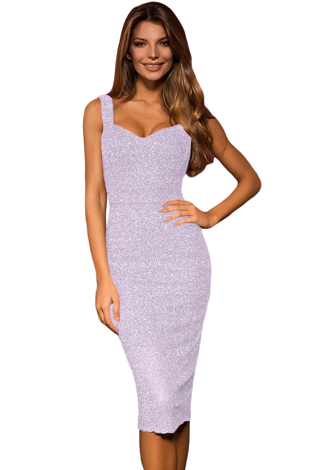 Violet Sleeveless Glitter Midi Dress LAVELIQ