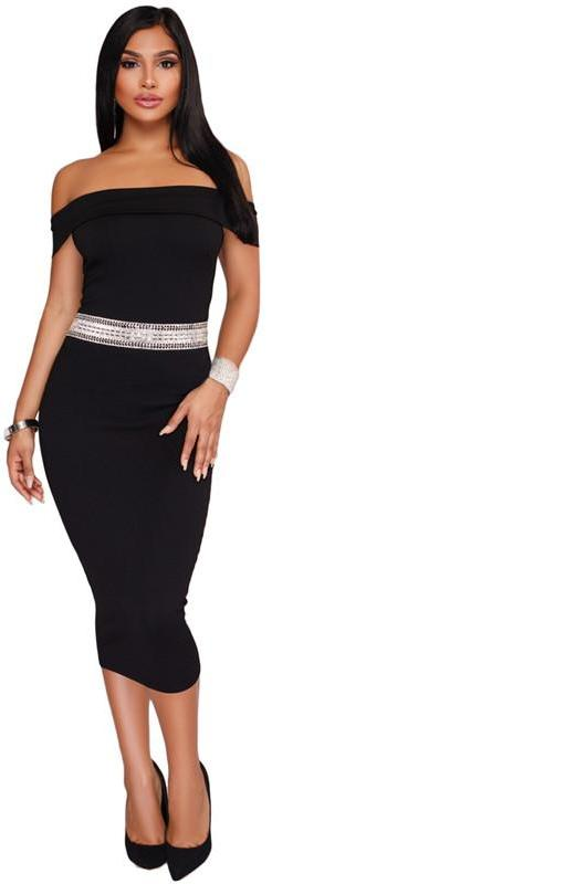 Pink off shoulder black midi dress bodycon