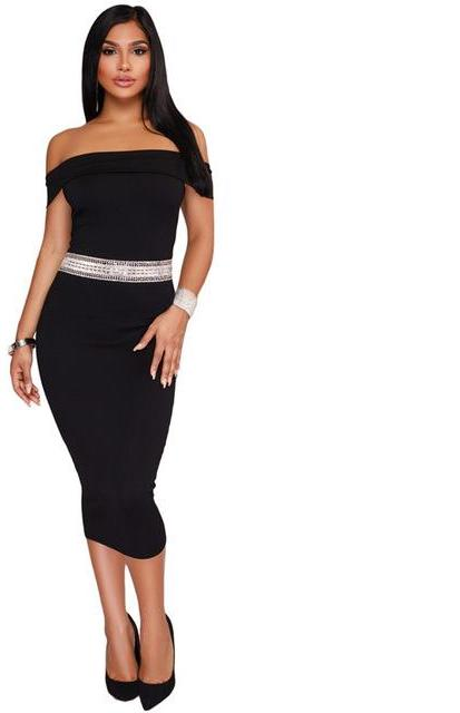 Black off shoulder black midi dress bodycon