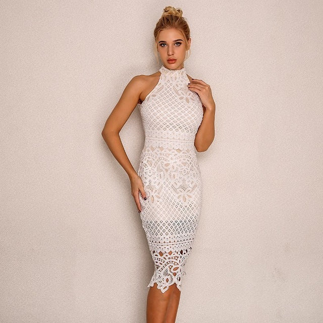 Backless Lace Midi Women Dress