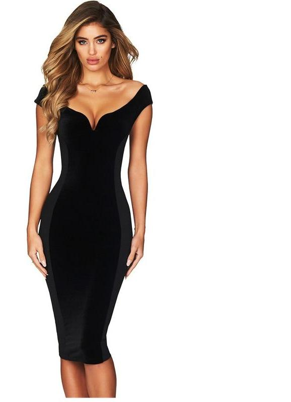 Blue deep v neck black bodycon midi dress elastic