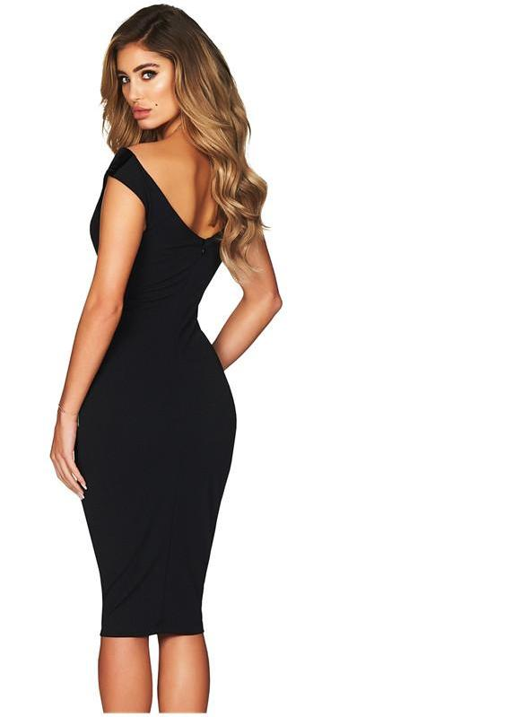 Black v neck black bodycon midi dress elastic