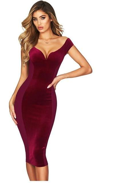 Red deep v neck black bodycon midi dress elastic