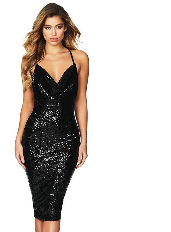 black sequin elegant v neck  midi party dress