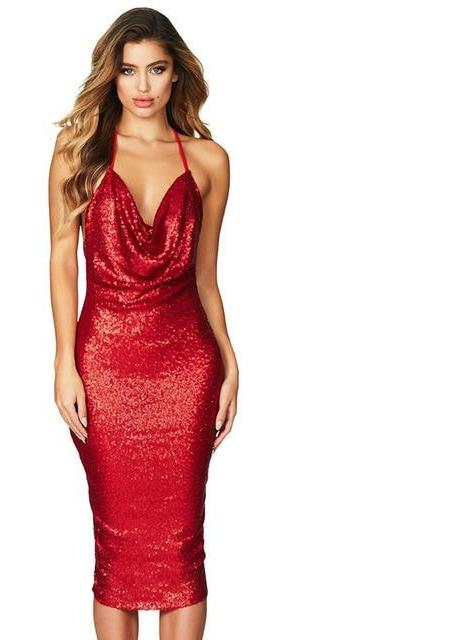 Red sequin elegant v neck  midi party dress