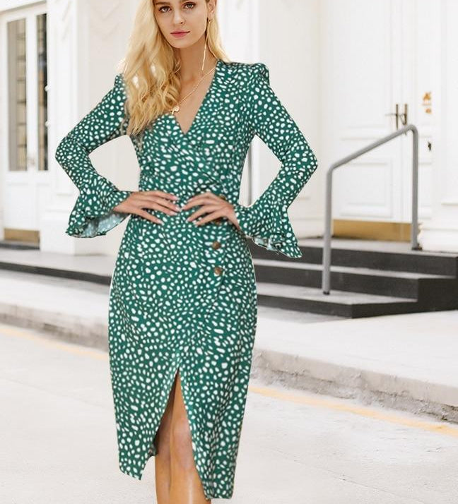 Vintage polka dot women dress Print v neck ruffle midi summer female vestido Sexy green bodycon ladies party dress festa