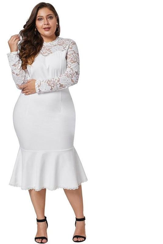 black plus size fish tail long sleeve lace midi dress