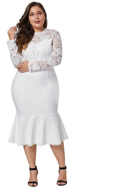 white plus size fish tail long sleeve lace midi dress
