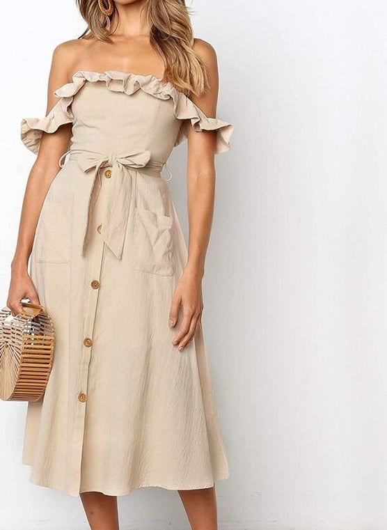 Off shoulder ruffle summer dress women Elegant sash high waist short dress Pocket buttons midi ladies dresses vestidos