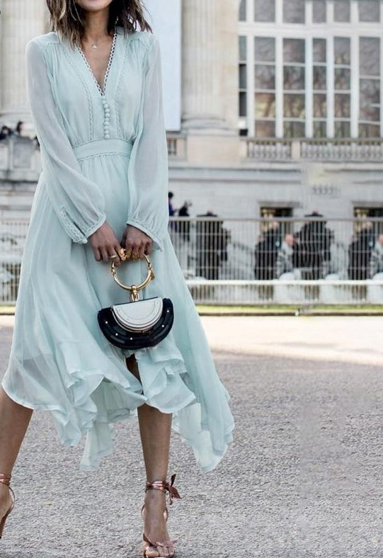 Long sleeve chiffon women dress summer 2019 Elegant lace v neck casual dress Asymmetric romantic midi dress mint green