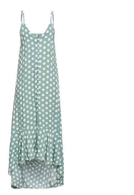 Elegant Polka dot boho women midi summer dress Sexy v-neck strap button A-line dress Female print beach vestidos