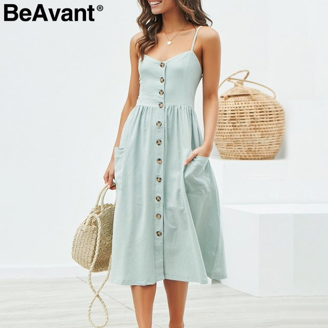 Casual buttons cotton women dresses 2019 Summer spaghetti strap midi dress female Holiday beach dress plus size vestidos