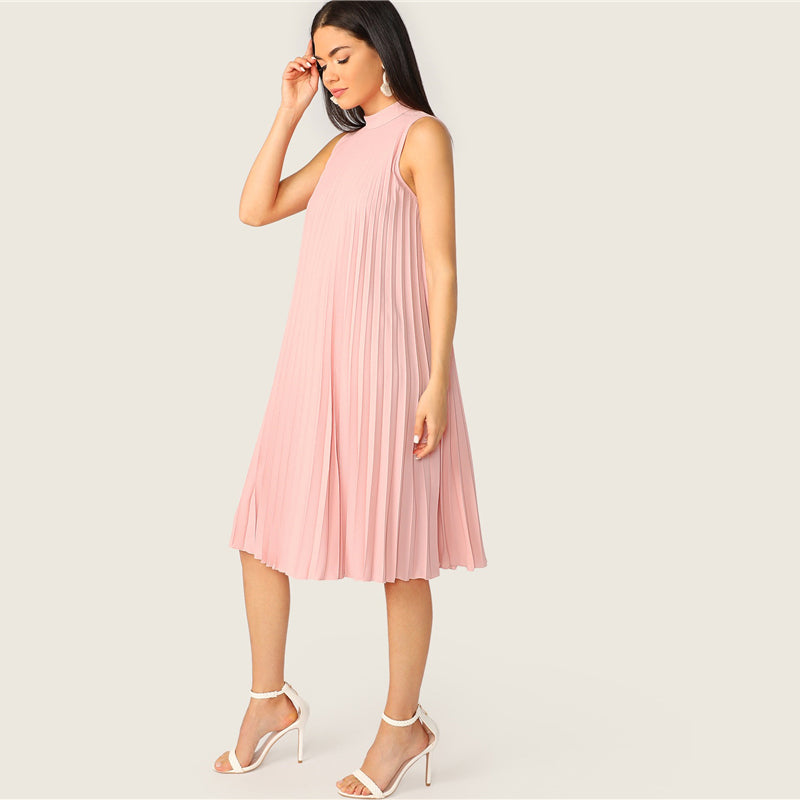 Pink Mock Neck Cut-out Tie Back Pleated Tunic Party Midi Summer Dress Women Sleeveless Shift Straight Solid Cute Dresses