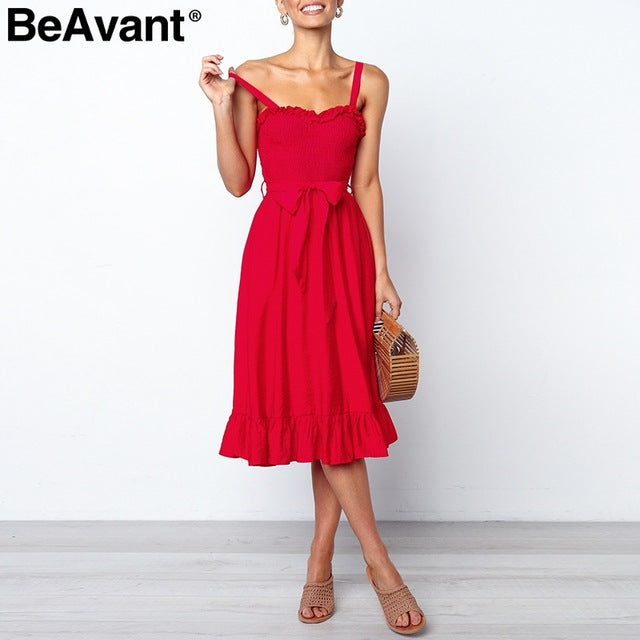 Elegant ruffle pleated women cotton dress Ruched high waist summer dress pink Spaghetti strap female midi dress vestidos