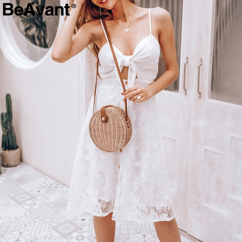 Spaghetti strap women white lace dress Sexy mesh v neck summer dresses Button cut out bow tie midi dress casual vestidos