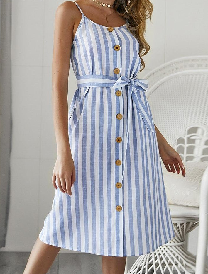 Elegant striped women midi dress Sexy spaghetti strap sashes button summer sundress Casual cotton blue ladies vestidos
