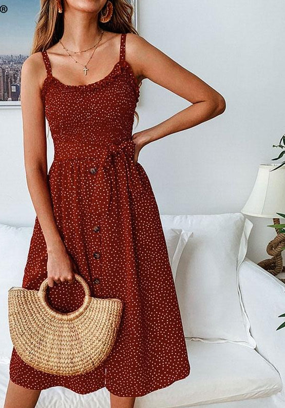 Elegant polka dot female midi dress High waist spaghetti strap summer sundress women Ruffle sash button ladies dresses