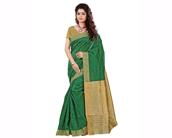 e-VASTRAM Cotton Silk Saree(KERLACHEG_Green)