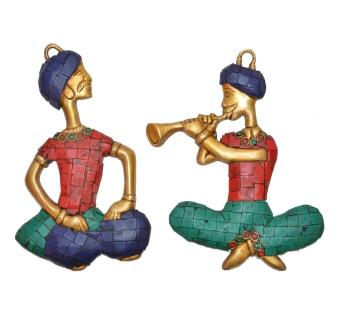Wall Hanging two Musician Set metal made showpiece2