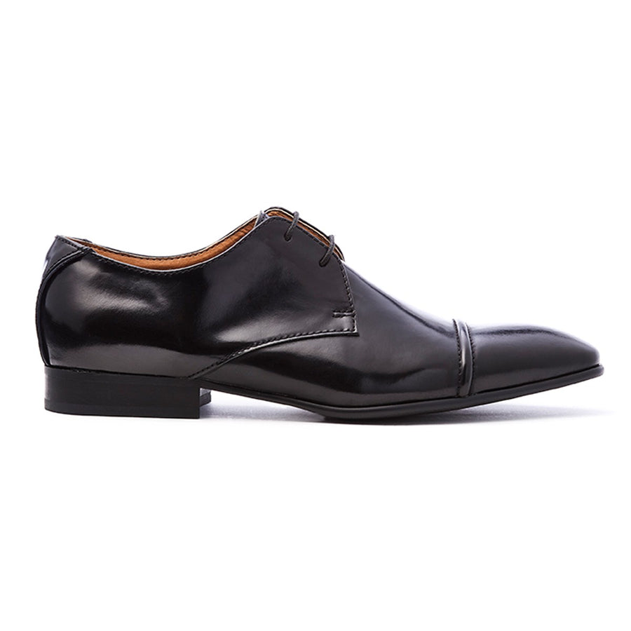 Mens black leather formal dress derby lace-up shoe