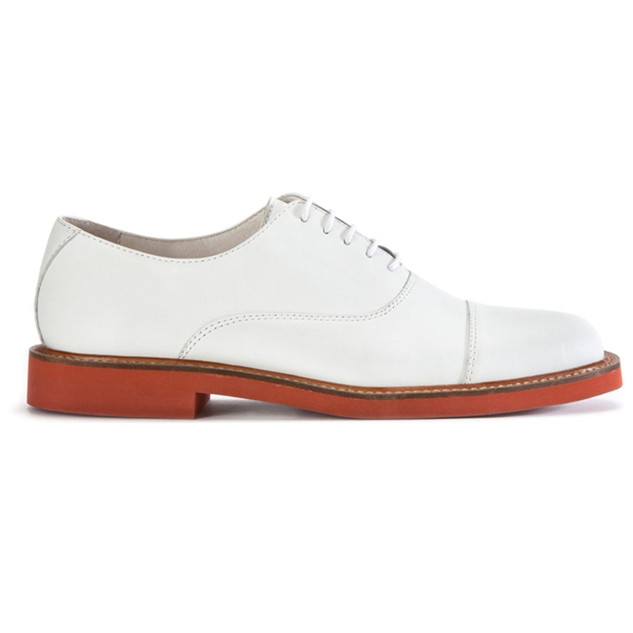 Mens white leather oxford lace-up shoes