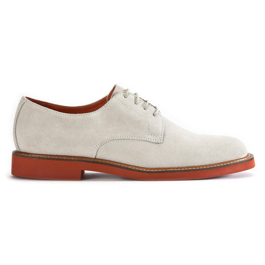 Mens white suede derby lace-up shoes