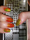 BORN PRETTY Rectangle Stamping Template Checkered Design