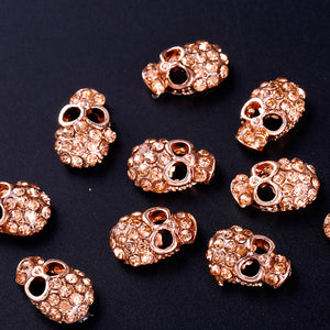 10Pc  Skull nail jewelry With Rhinestones