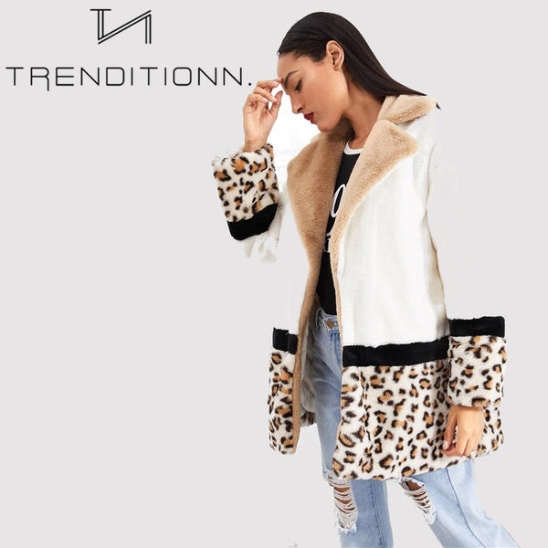 Cut And Sew Leopard Panel Faux Fur Coat