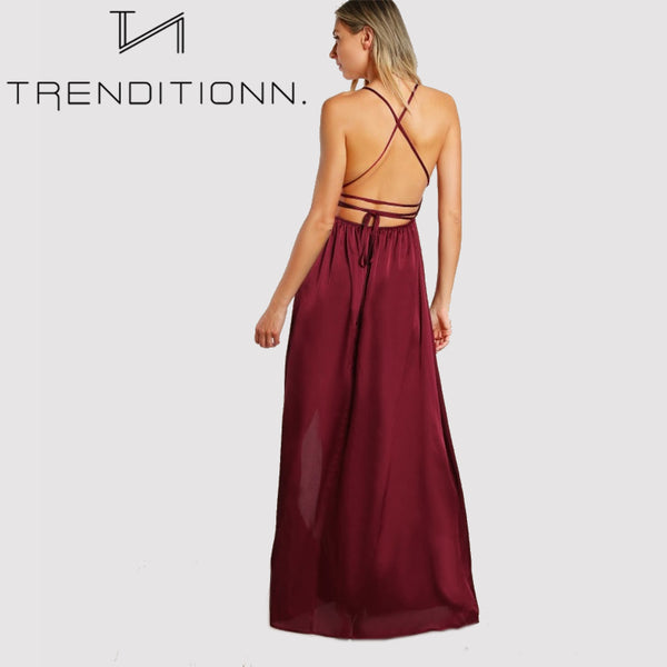 High Slit Wrap Satin Maxi Dress