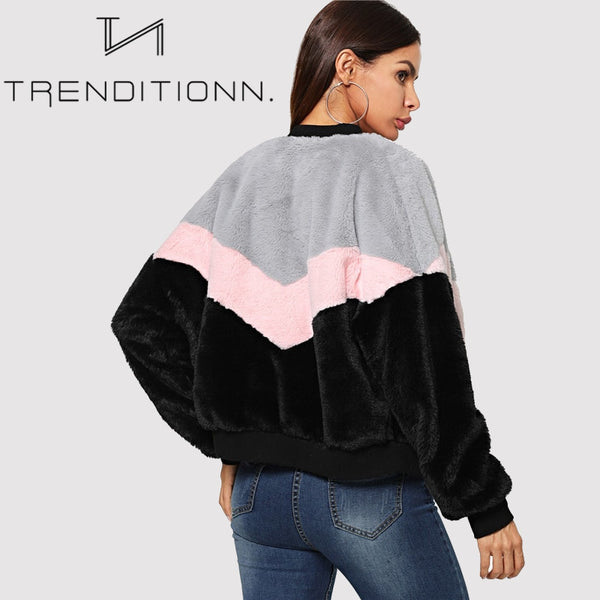 Fuzzy colorblock jacket