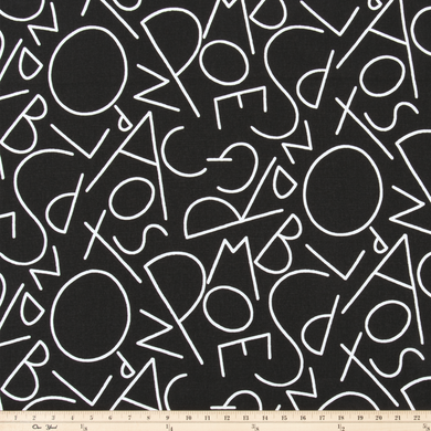 ABC Black/White Fabric By Premier Prints