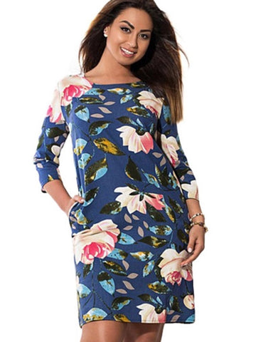 3/4 Sleeve Plus Size Floral Dress - Gisselle Morales