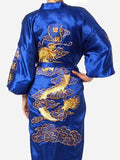 Navy Blue Chinese Men's Dragon Kimono Bath Gown,  Dragon Size S M L XL XXL XXXL