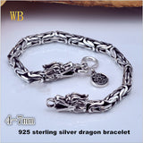 Genuine 100% Real Pure 925 Sterling Silver Dragon Bracelet. fine jewelry HYB03