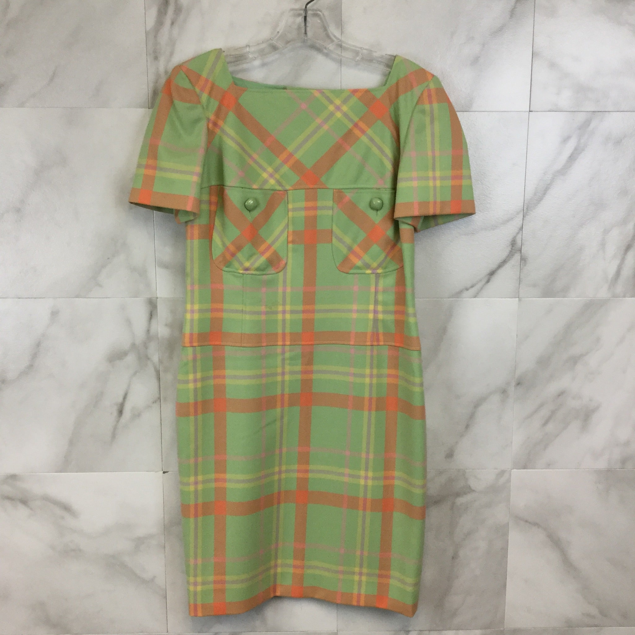 Vintage Valentino Pastel Plaid Dress - Size S