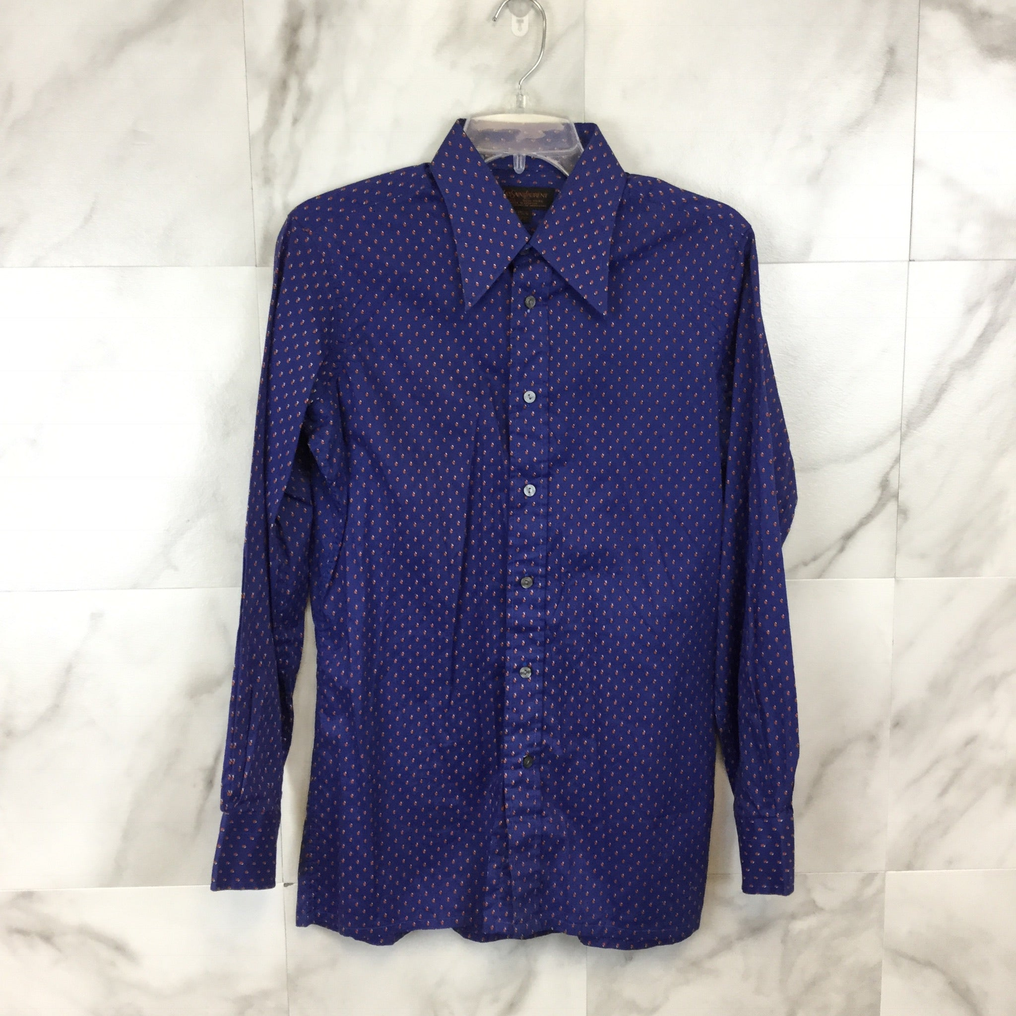Men's Yves Saint Laurent Blue Dress Shirt size 15.5/M