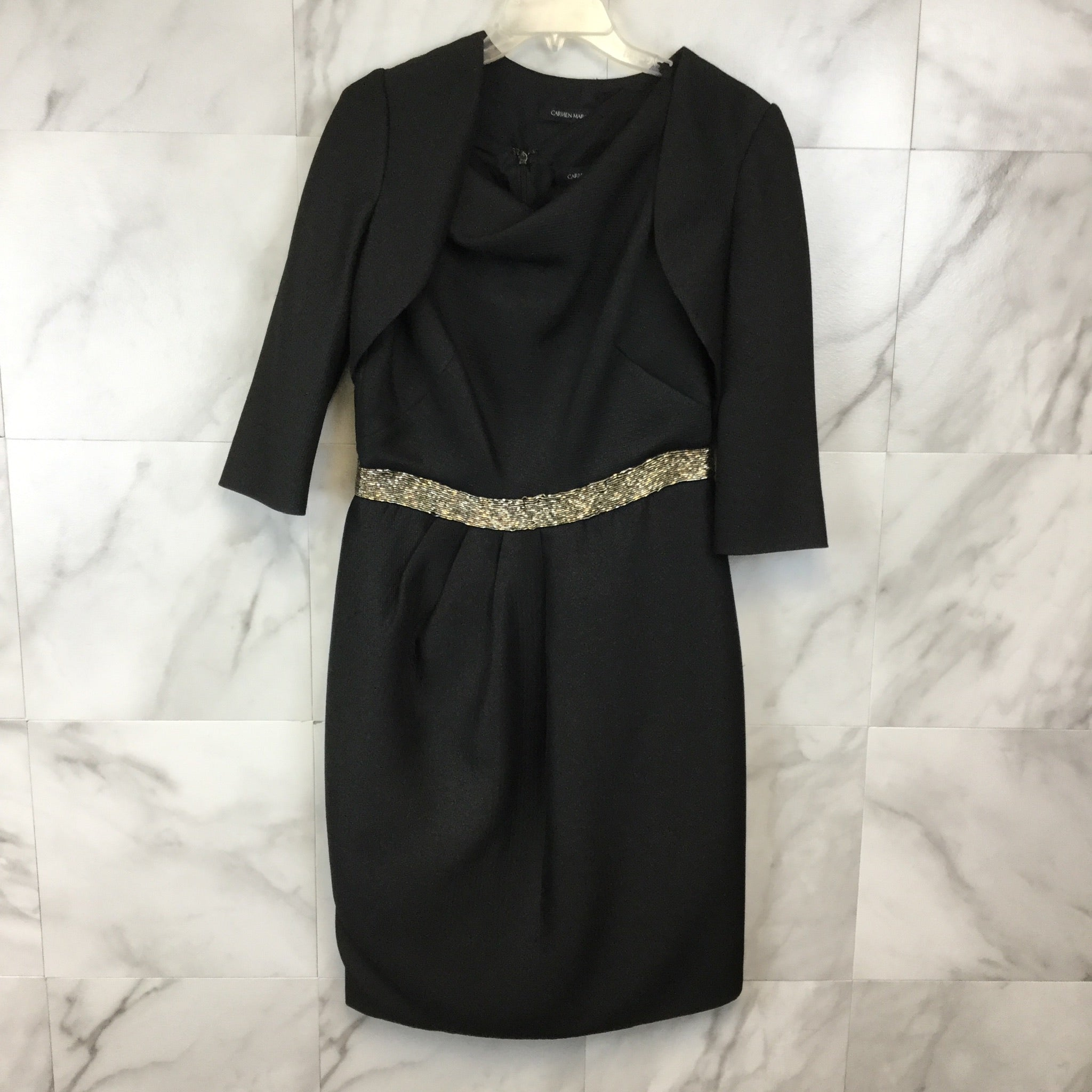 Carmen Marc Valvo 2 Piece Dress & Jacket Set - Size 8