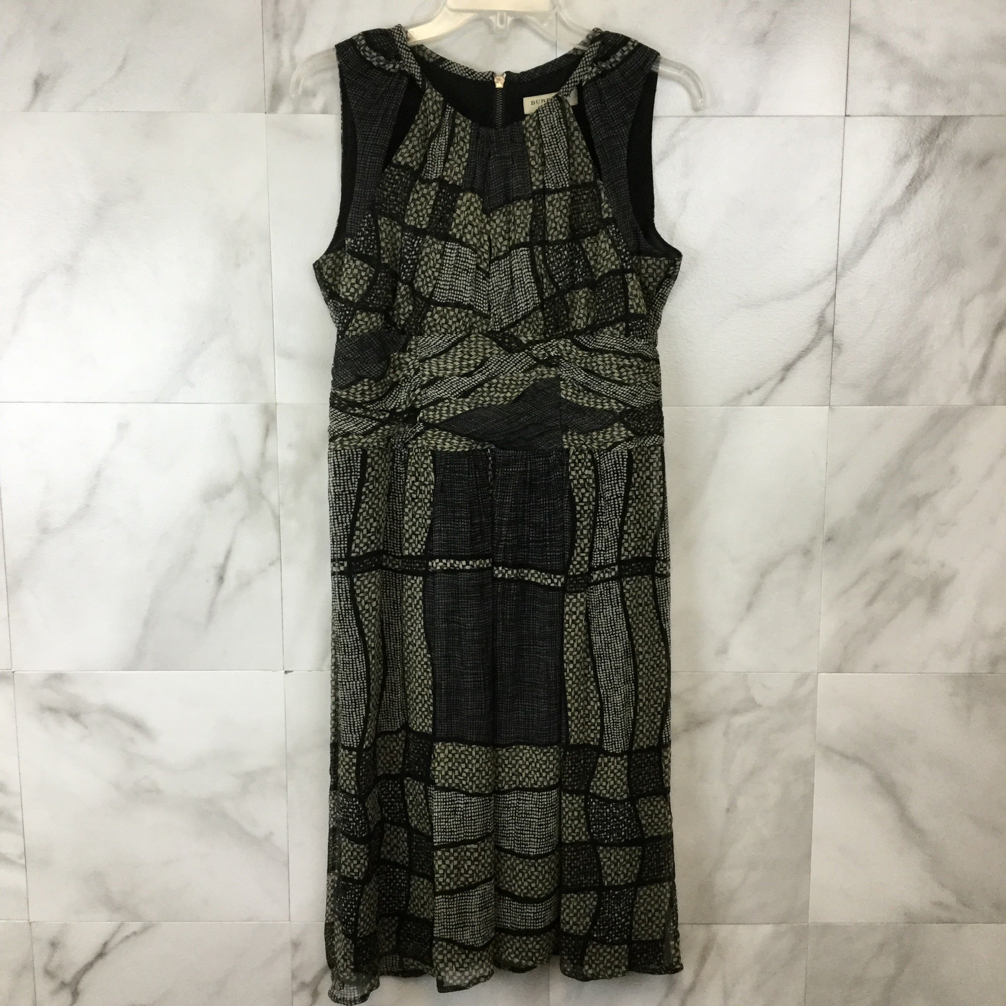 Burberry Geometric Print Silk Dress - size 8