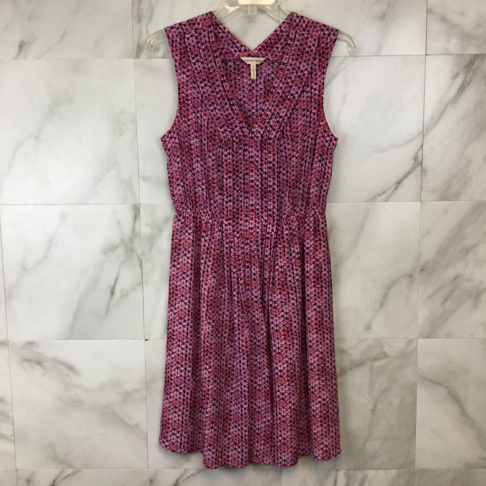 Rebecca Taylor Sleeveless Shibori V-Neck Dress - size 0