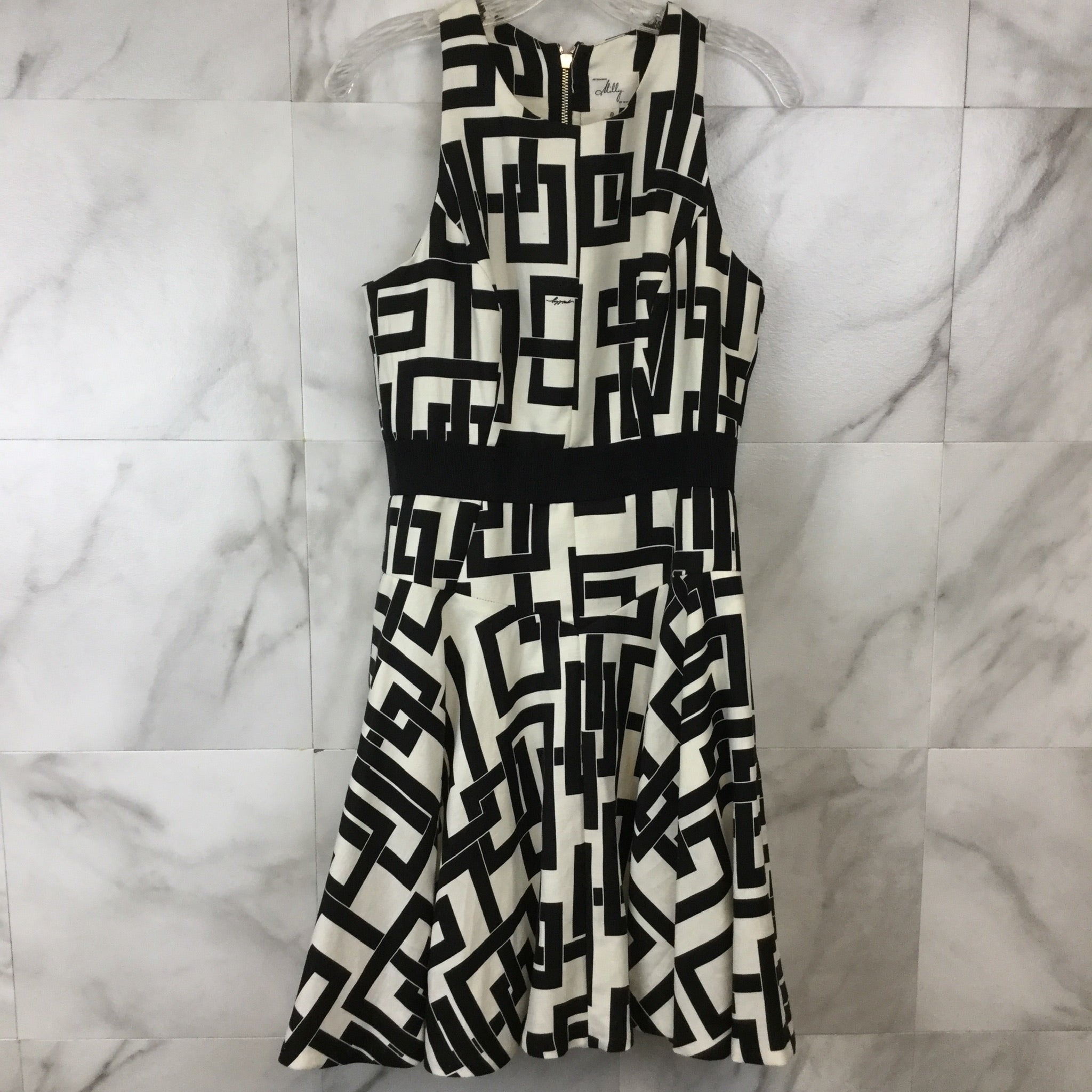 Milly Geo Print Flare Dress - size 8