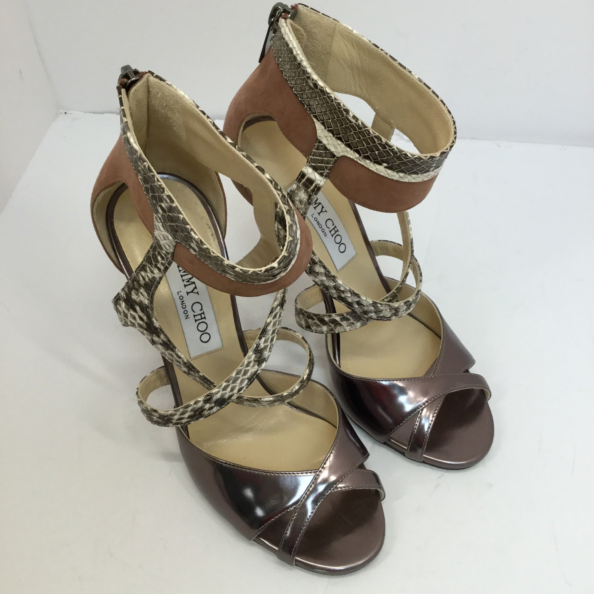 Jimmy Choo Freesia Suede Snakeskin Strappy Sandals - size 37