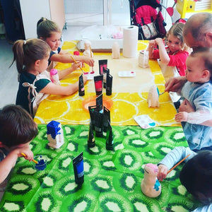 Kids painting in our Money box painting workshop