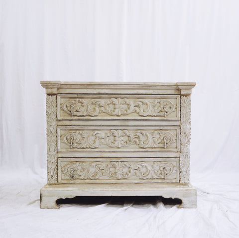 Carved White Washed Chest