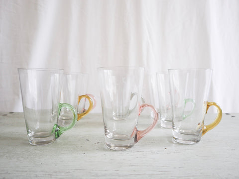 Set of 8 Hot Toddy Glasses with Various colored handles